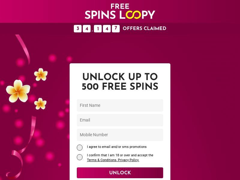 Free Spins Loopy - 500 Free Spins, No Deposit [UK]