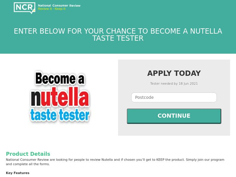 NCR - Become A Nutella Taste Tester [UK]