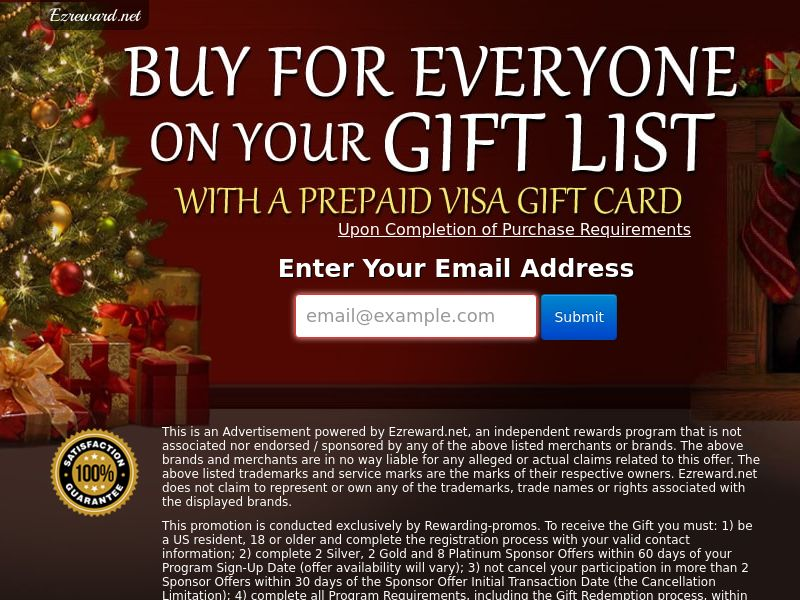 Incent - Email Submit Christmas Visa - US