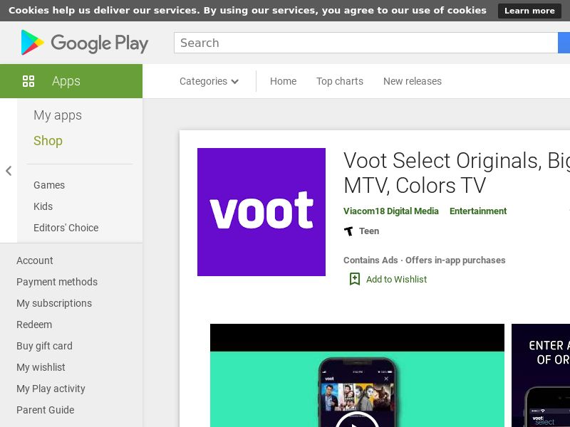Voot select video View AND IN