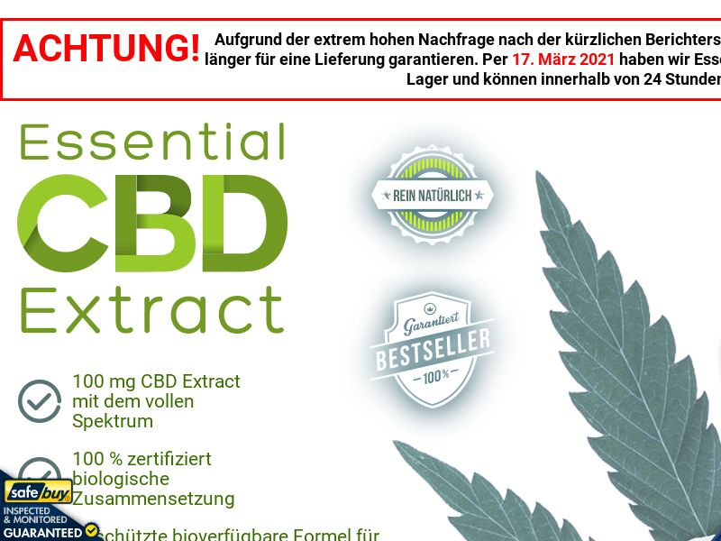 Essential CBD Extract German [DE, AT, CH] (Social,Banner,PPC,Native,Push,SEO,Search)(No Email) - CPA