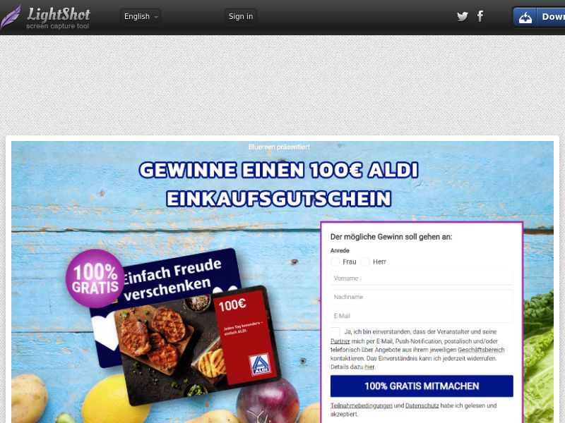 7Sections - Aldi €100 Giftcard (DE, AT, CH) (CPL) (Personal Approval)