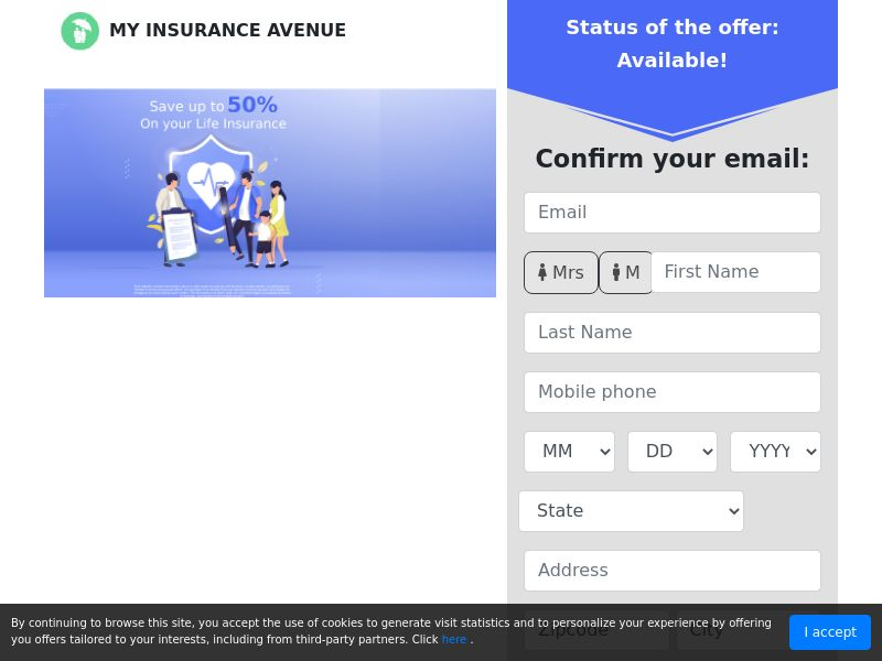 MyInsuranceAvenue - 50% on Life Insurance - First Page - CPL - US