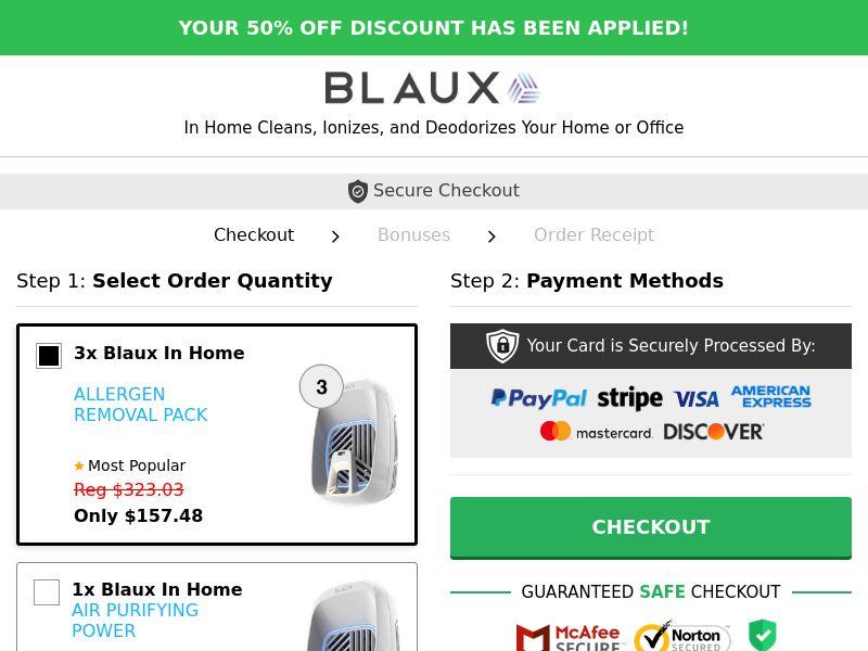 Blaux In-Home Air Purifier (CPS) - INT