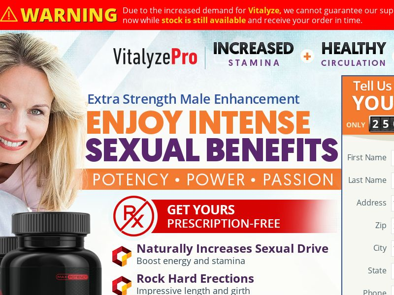 Vitalyze Pro Male (Trial) (US) (Survey Allowed)