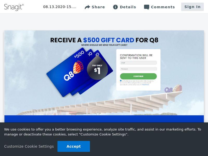 $500 Q8 Giftcard   DE,JP,NZ