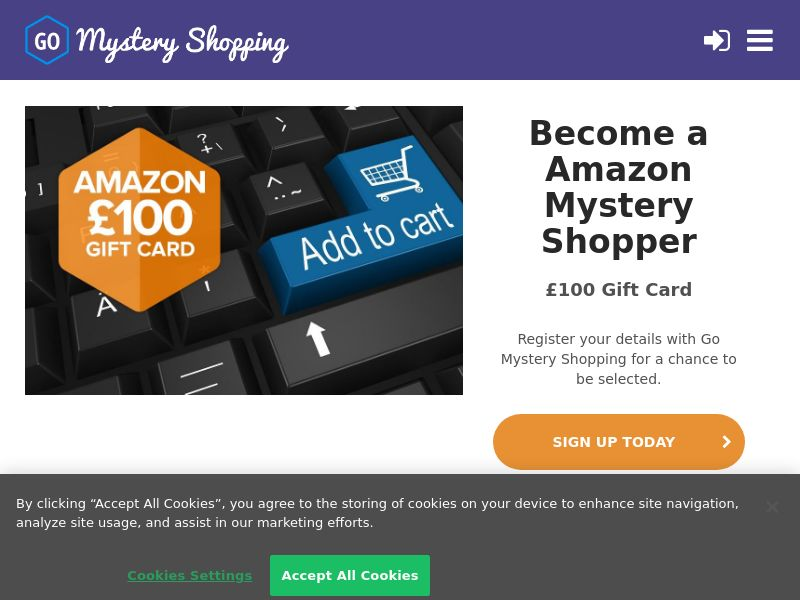 Go Mystery Shopper - Receive £100 to be an Amazon Mystery Shopper CPL [UK]
