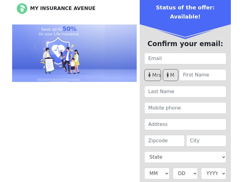 MyInsuranceAvenue - 50% on Life Insurance - First Page - US [EXCLUSIVE]