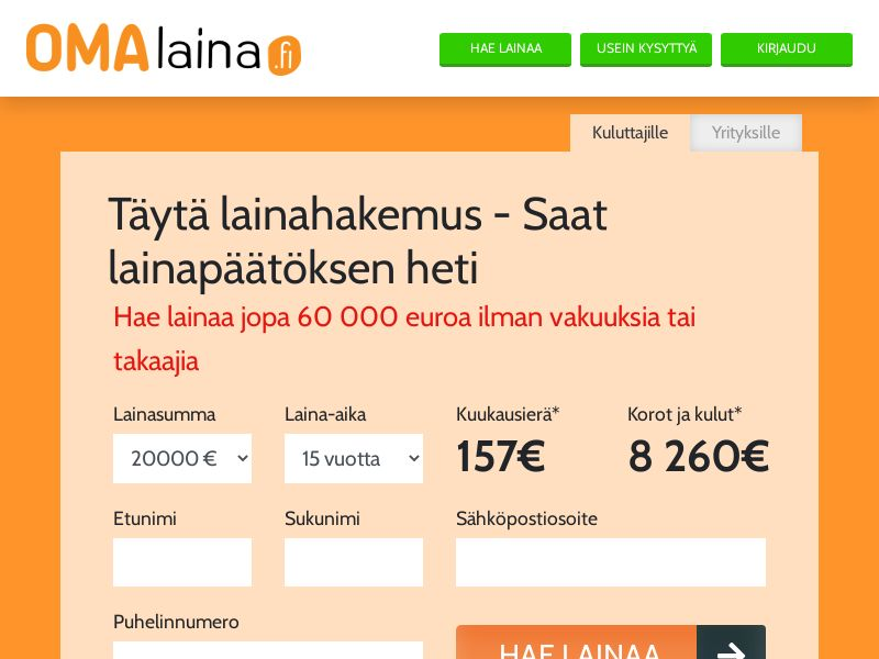 Omalaina - Loan [FI] (Email,Native,SMS,Search,Banner) - CPA