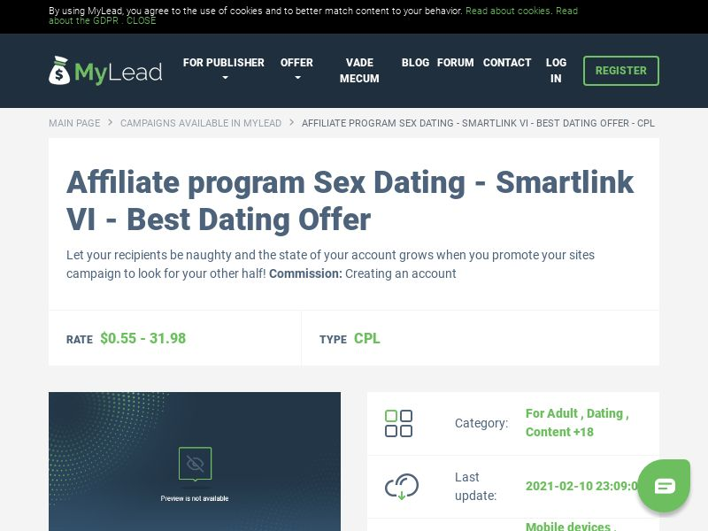 Sex Dating - Smartlink VI - Best Dating Offer (MultiGeo), [CPL], For Adult, Dating, Content +18, Single Opt-In, women, date, sex, sexy, tinder, flirt