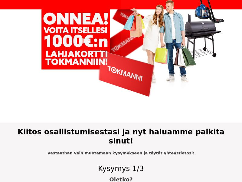 Tokmanni vouchers - FI (FI), [CPL], Lotteries and Contests, Single Opt-In, paypal, survey, gift, gift card, free, amazon