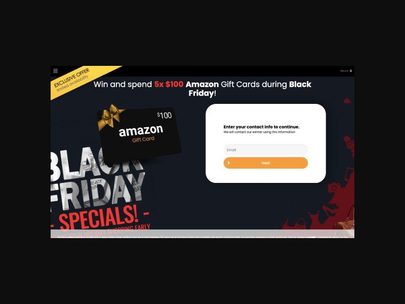 YOUSWEEPS Amazon Gift Card Black Friday (US) SOI