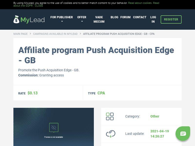 Push Acquisition Edge - GB (GB), [CPA]