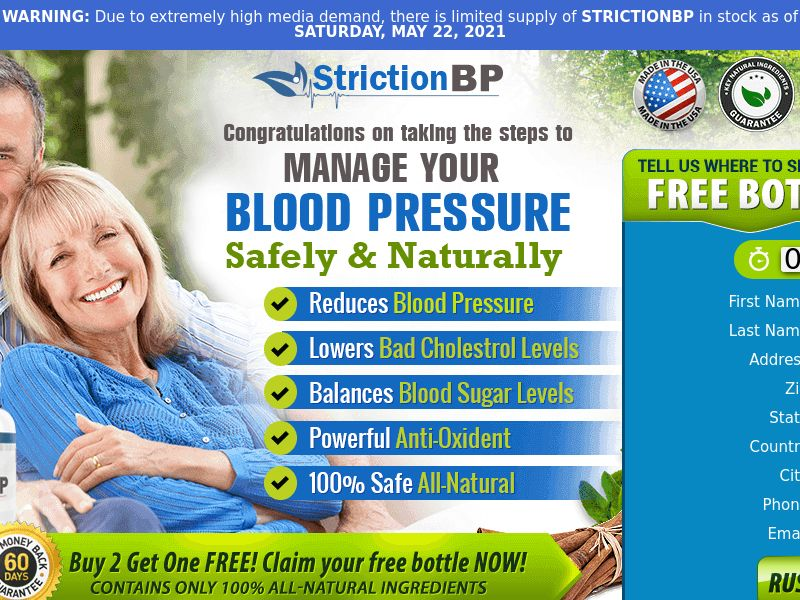 Striction BP - Blood Pressure Supplement (PPS) - Health/Nutra - US