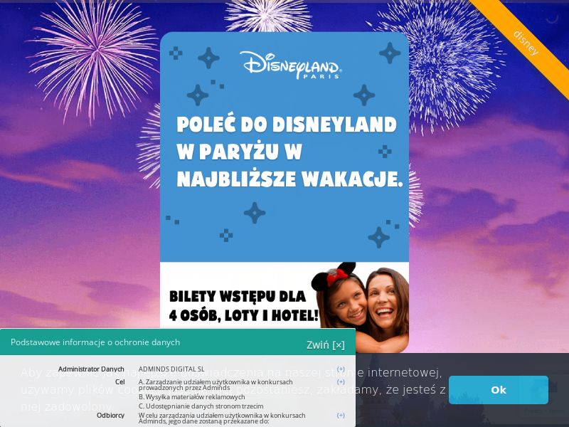 Disneyland (PL), [CPL], Lotteries and Contests, House and Garden, For children, Transport and Travel, Tours, Single Opt-In, paypal, survey, gift, gift card, free, amazon, shop, gift, holiday