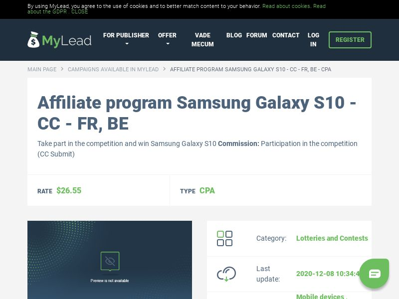 Samsung Galaxy S10 - CC - FR, BE (BE,FR), [CPA], Lotteries and Contests, Credit Card Submit, paypal, survey, gift, gift card, free, amazon