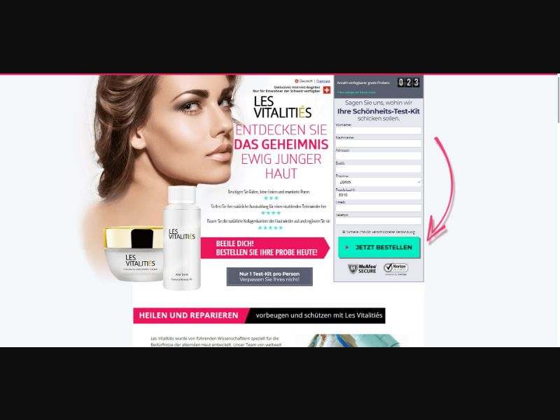 Les Vitalities - Skin Care - Trial - [CH] - with 1-Click Upsell [Step1 $30.10 / Upsell $28.00]
