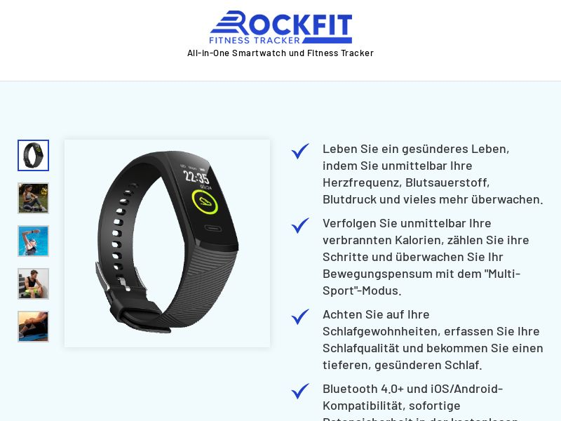 E-Commerce - RockFit Watch V3 T1/T2 GEOs (110 accepted countries) - Straight Sale (GERMAN LP)