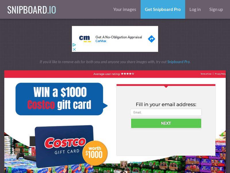 YouSweeps - Costco $1000 Giftcard US - SOI