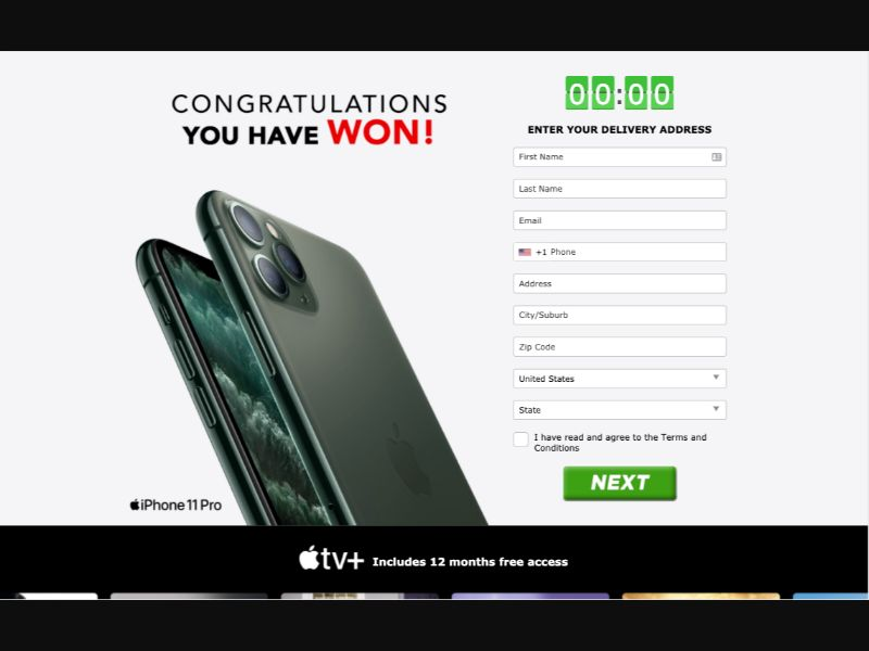 iPhone 11 Pro - CC Submit - US - Sweepstakes - Responsive