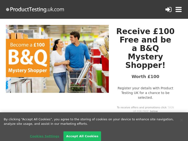 Email Submit - £100 B&Q Mystery Shopper - SOI (UK)