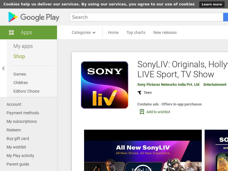 SonyLIV: Originals, Hollywood, LIVE Sport, TV Show - Android (IN) (CPA) (GAID) (No Rebrokering)