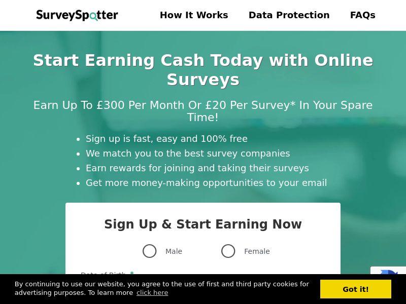 SurveySpotter - Earn cash for surveys CPL [UK]