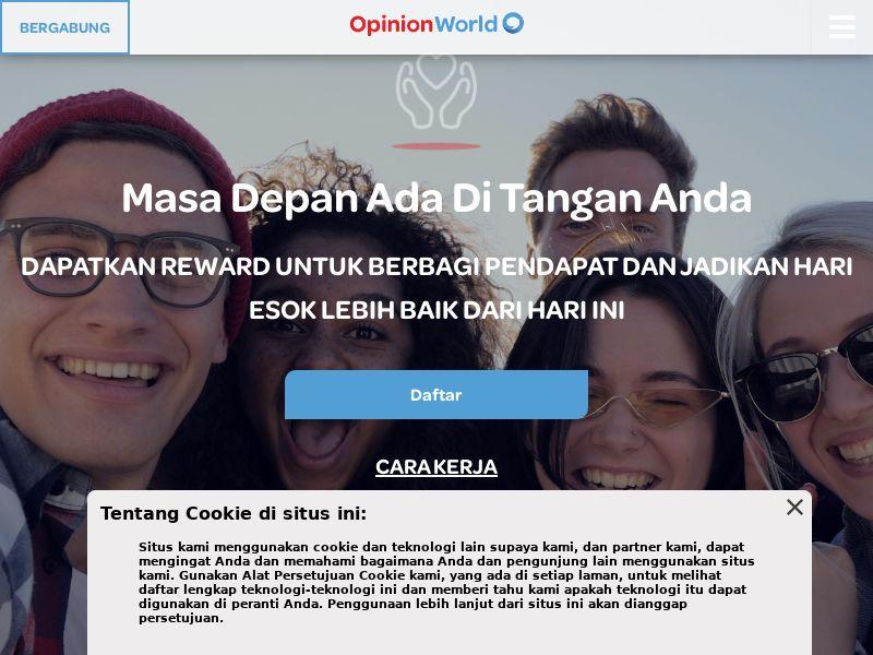 OpinionWorld - Paid Survey Online - CPL -Desktop & Mobile [ID]