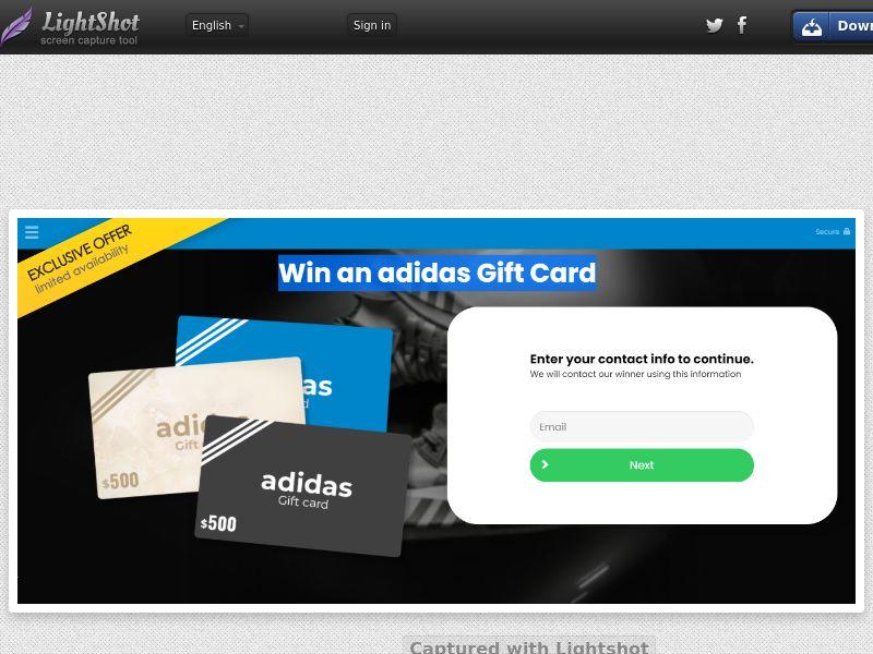 Win An Adidas Gift Card - US