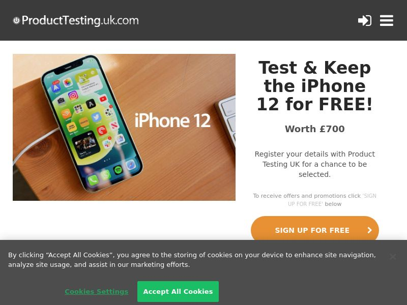 Product Testing - Test & Keep the New Apple iPhone 12 CPL [UK]