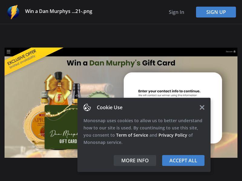 Australia (AU) - YouSweeps - Dan Murphy $500 Gift Card (Responsive)