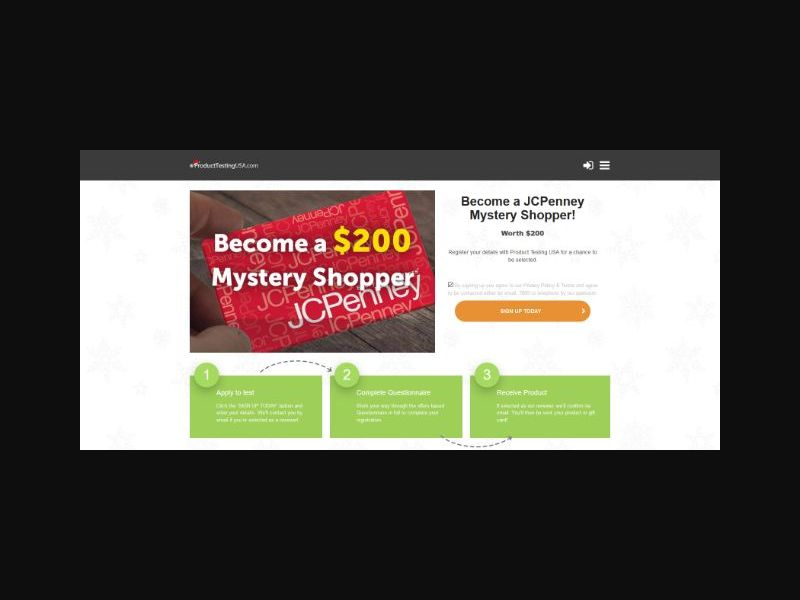 Product Testing - JC Penny Mystery Shopper (US)