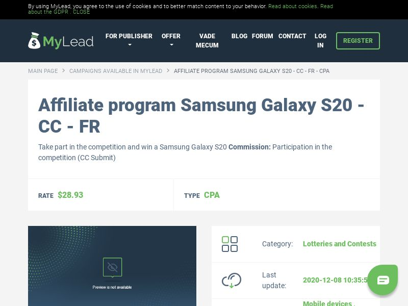 Samsung Galaxy S20 - CC - FR (FR), [CPA], Lotteries and Contests, Credit Card Submit, paypal, survey, gift, gift card, free, amazon