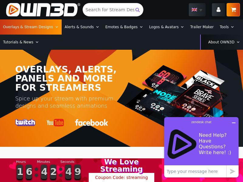 OWN3D.TV: Shop for Game Live Streamers [CPS] Many GEOs