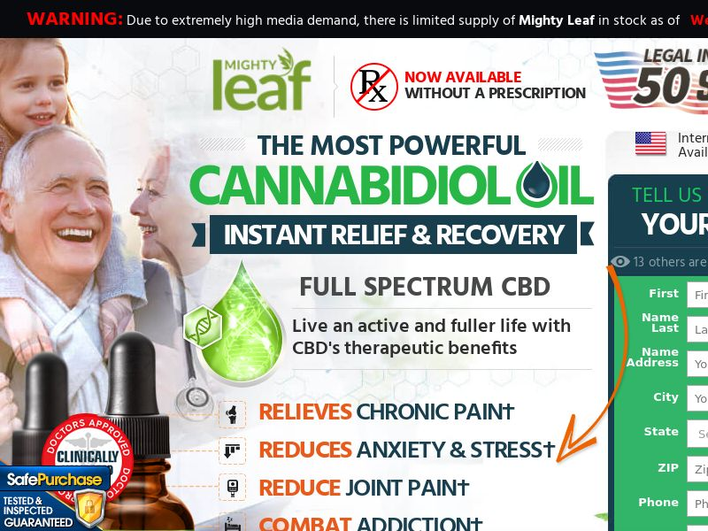 ! HOT OFFER Trial - Mighty Leaf CBD Oil w/ Upsell [US] (Email,Social,Banner,Native,Push,SEO,Search,SMS,Survey) - CPA