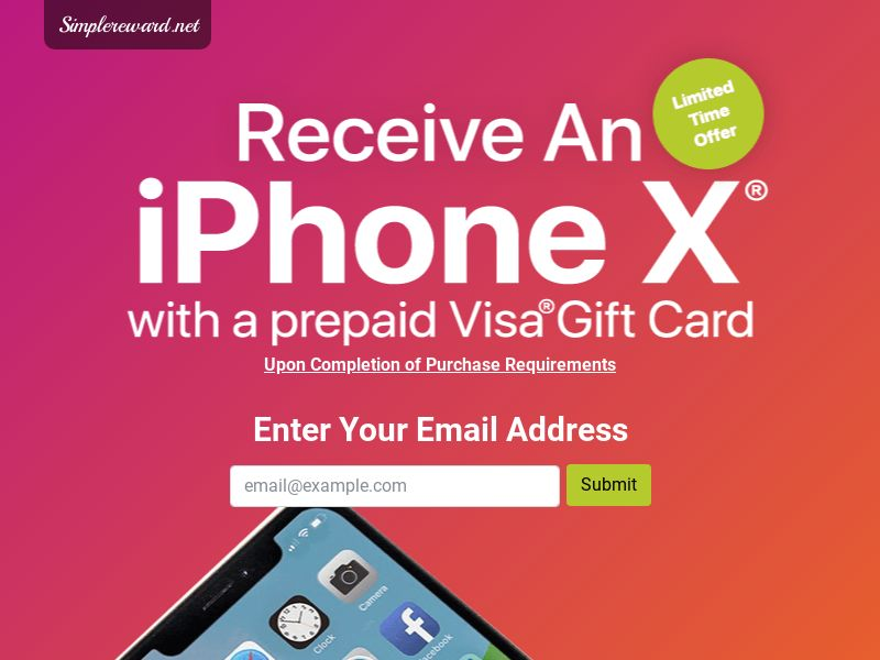 iPhone X - Email Submit