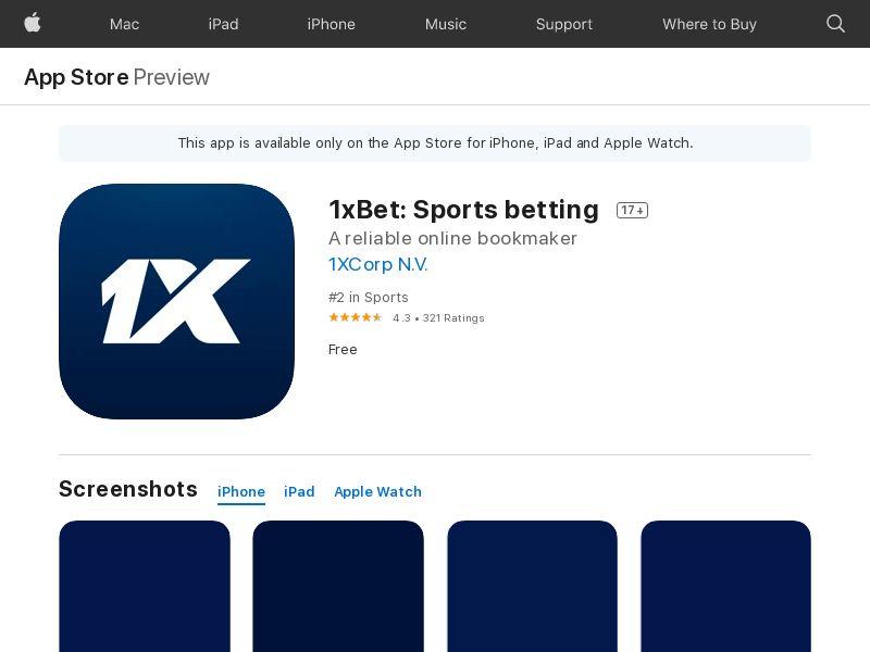 UA-iOS-1xBet: Sports betting(Install)(Direct)