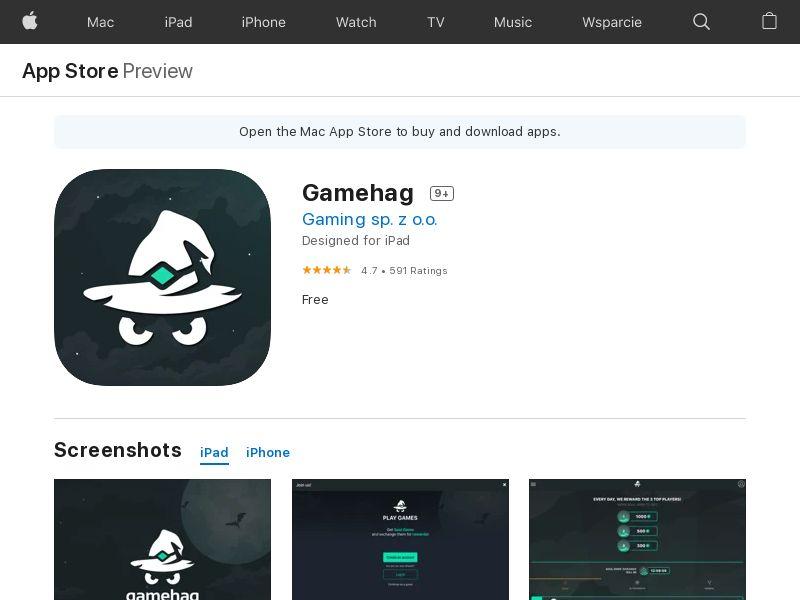 Gamehag - iOS (CZ, HU, BG, ES, IL, PT, PL, HK, RO, LV, RU) (CPE)