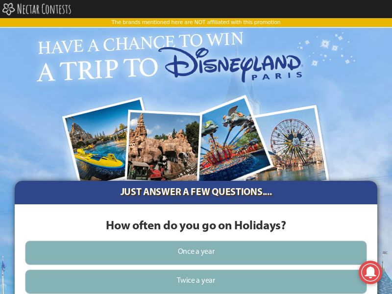 Win a Disneyland Trip - UK (GB), [CPL], Lotteries and Contests, Single Opt-In, paypal, survey, gift, gift card, free, amazon