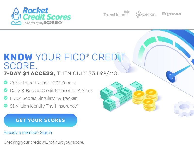Rocket Credit Scores - CPA - $1 7-day free trial - [US]