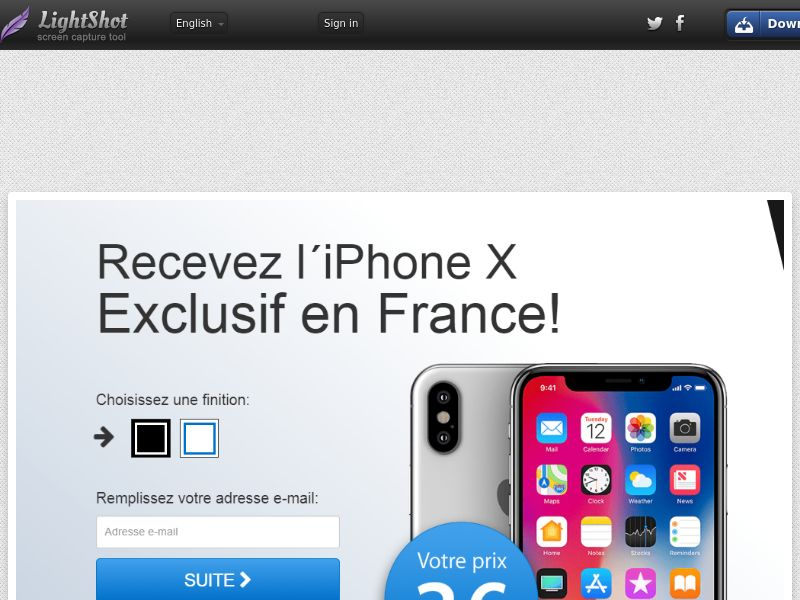 Recevez iPhone X 3€ (Sweepstake) (CC Trial) - France [FR]