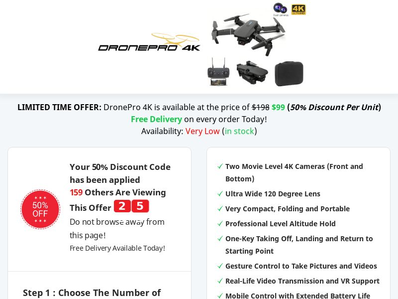 DronePro 4K - 50% Off Limited Time Offer