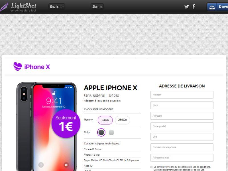 Purple Heart iPhone X 1€ - Trial - FR