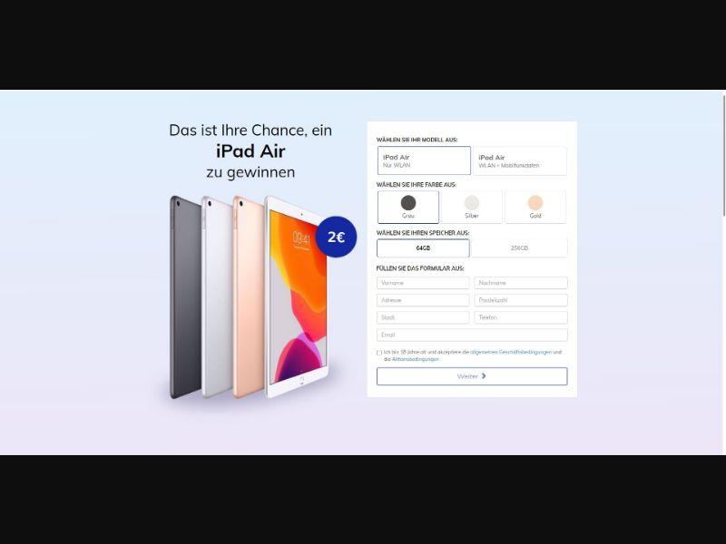 iPad Air 4th Generation - Sweepstakes & Surveys - Trial - [DE, AT]