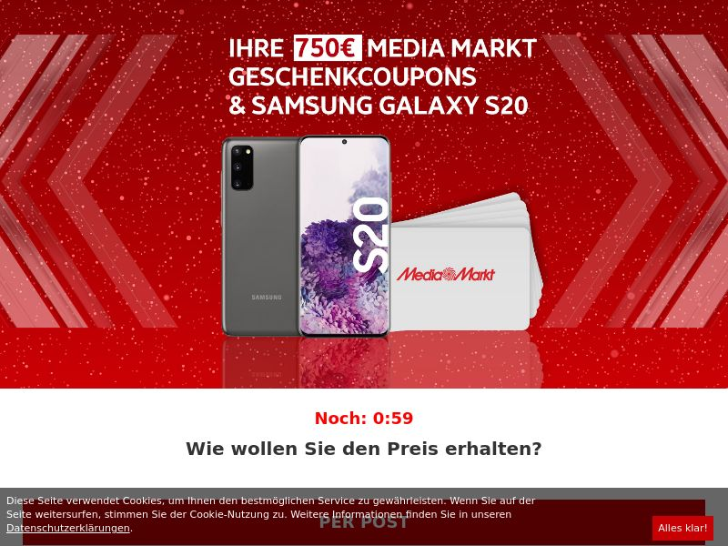 750€ MediaMarkt + Samsung Galaxy S20 DE SOI (WEB) Non Incent