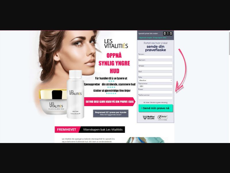 Les Vitalities - Skin Care - Trial - [NO] - with 1-Click Upsell [Step1 $30.10 / Upsell $28.00]