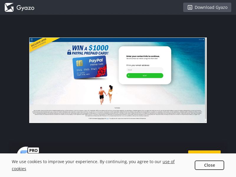 YouSweeps - Win $1000 PayPal Gift Card (CA) (CPL) (Desktop)