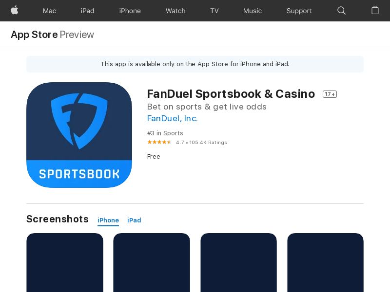 Fanduel Sportsbook CPI iOS US