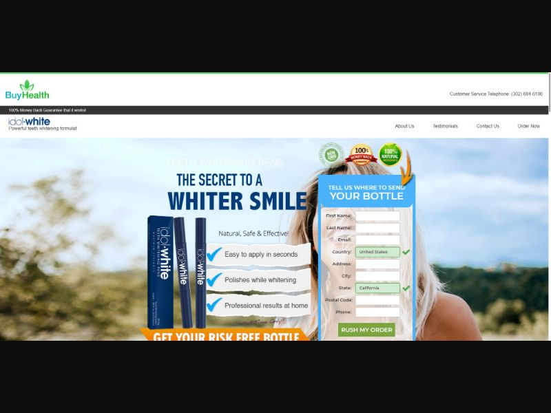 Idol White - Teeth Whitening - SS - [132 GEOs] - with 1-Click Upsell [Step1 $34.00 / Upsell $21.25]