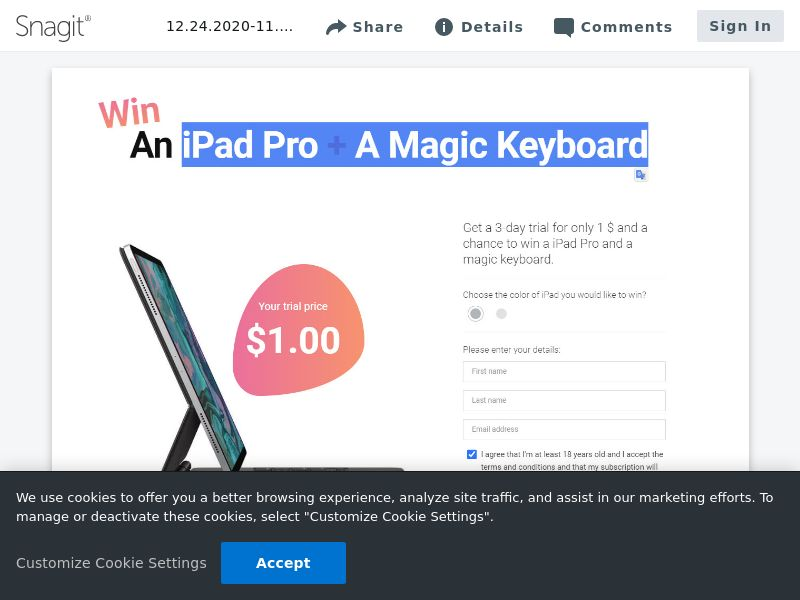 uWin iPad Pro + A Magic Keyboard | CA